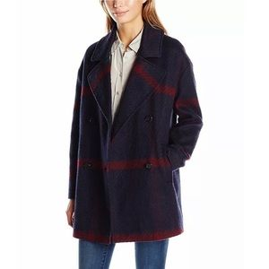 Tommy Hilfiger Oversized Plaid Wool Peacoat